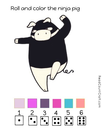 Roll and color the ninja pig