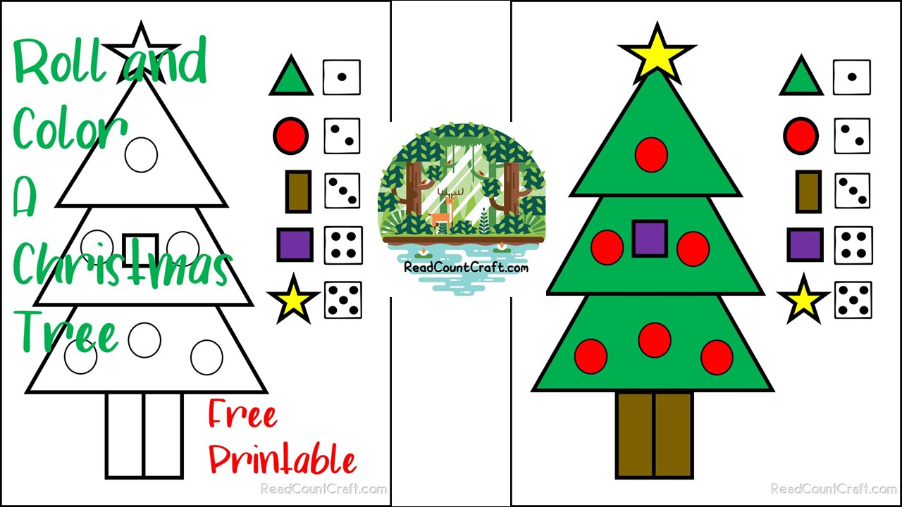 No Prep Free Printable Roll and Color a Tree for math skills play