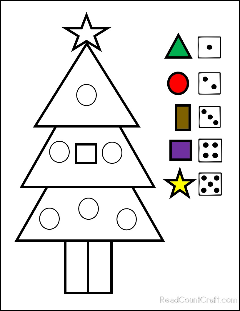 Students build math skills playing Roll and Color A Christmas Tree