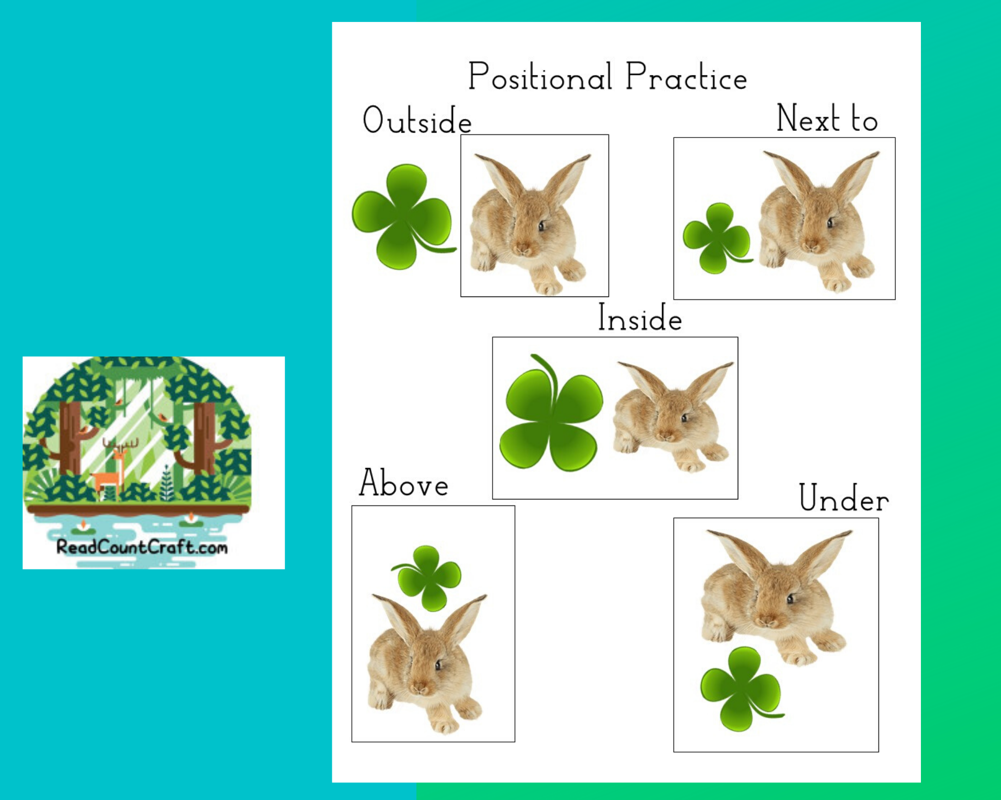 Preschool Positional Spring Practice Page March Rabbit and  Clover