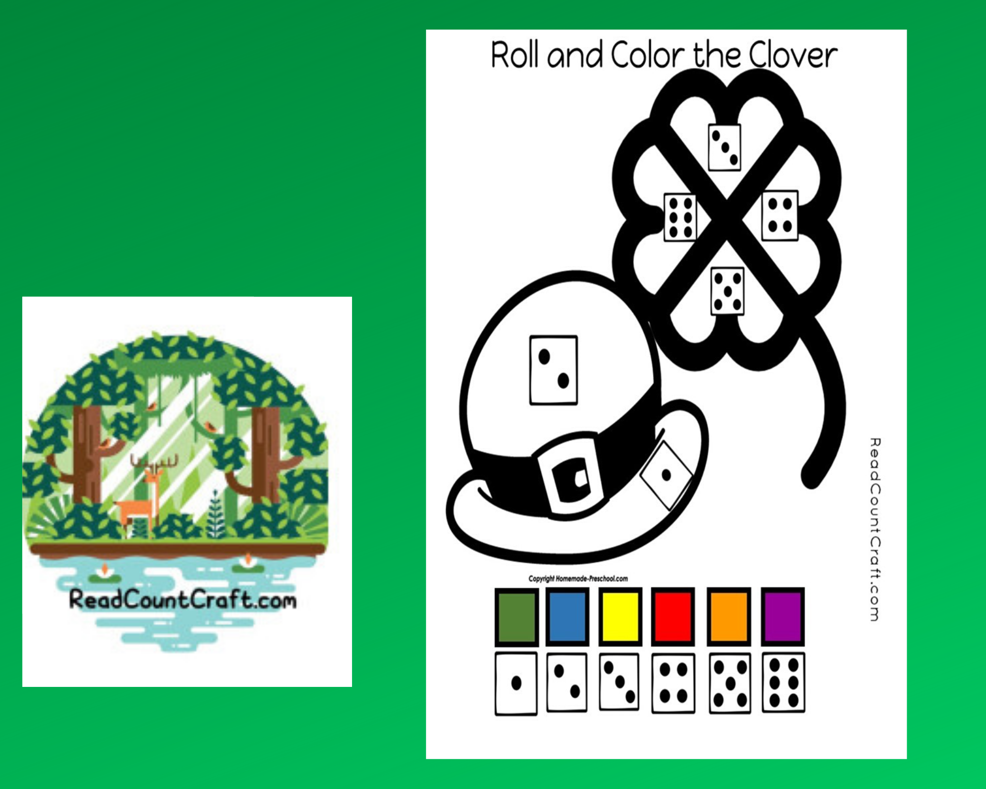 Preschool Dice Game Roll and Color