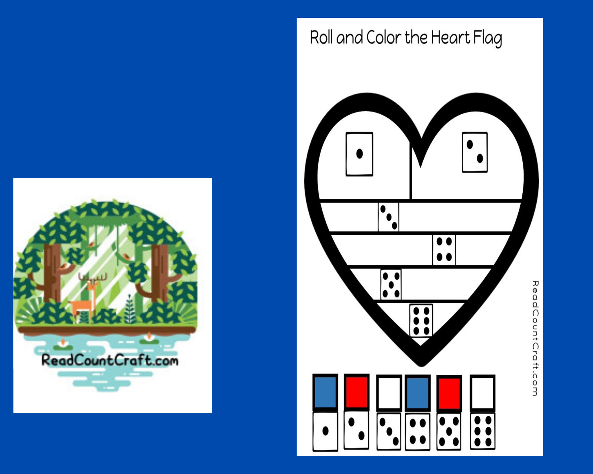 preschool math dice game roll and color a heart flag