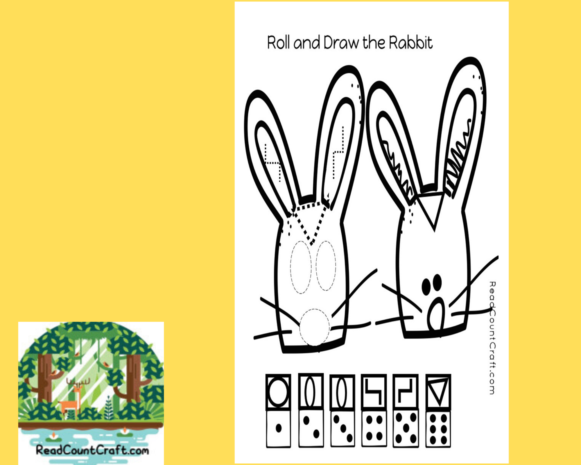 preschool math game roll and draw a rabbit