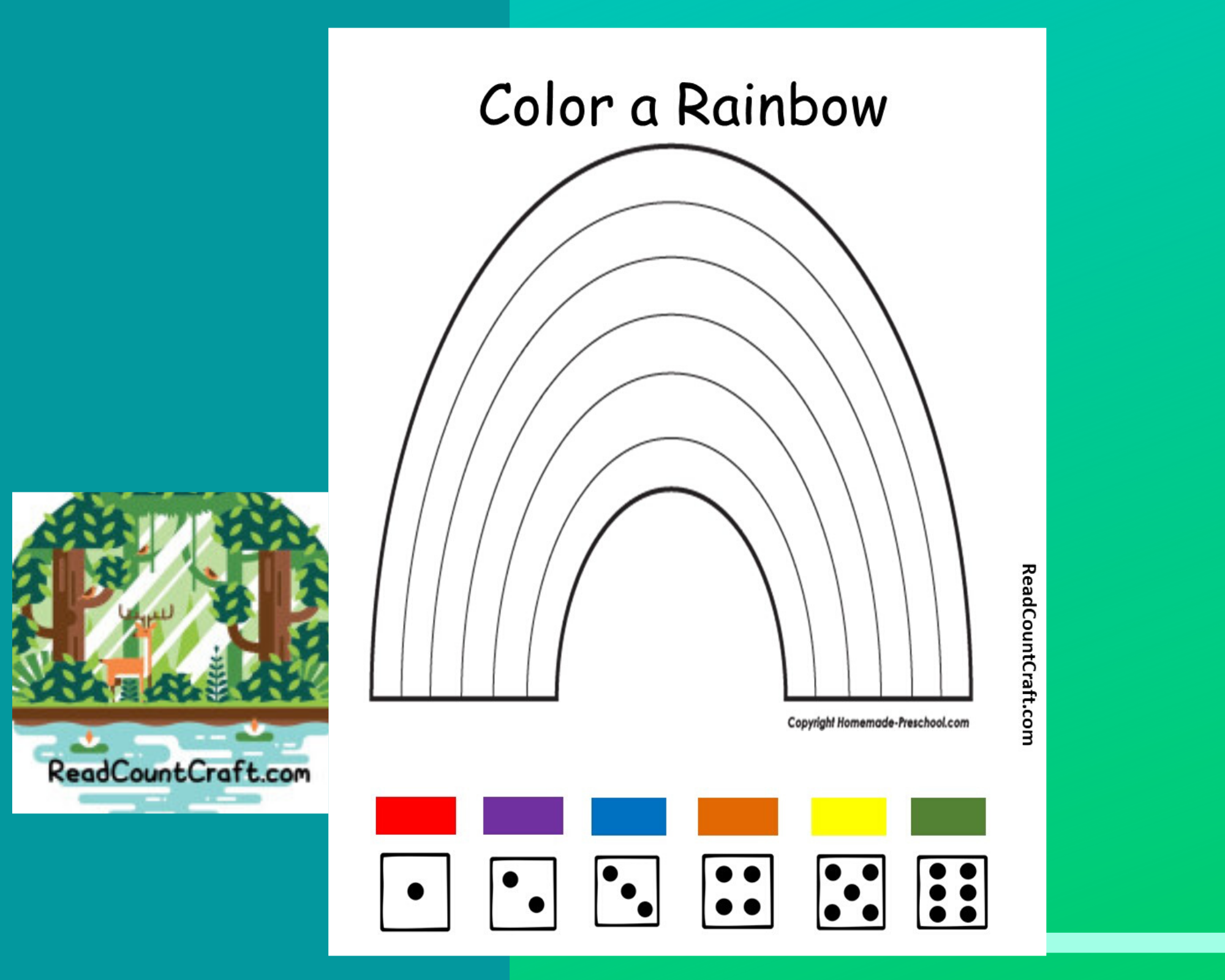 Preschool Math Dice Game Roll and color a rainbow