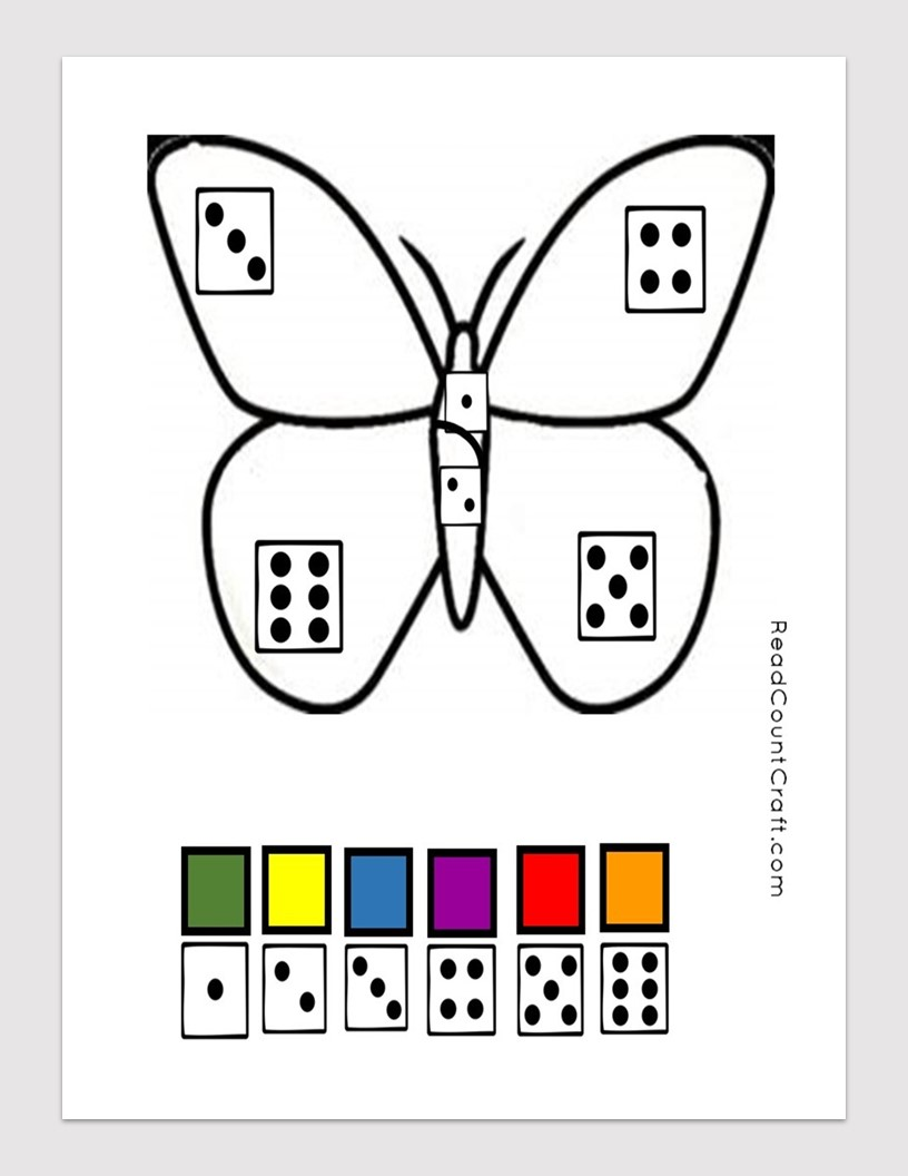 Preschool Math dice Game Butterfly