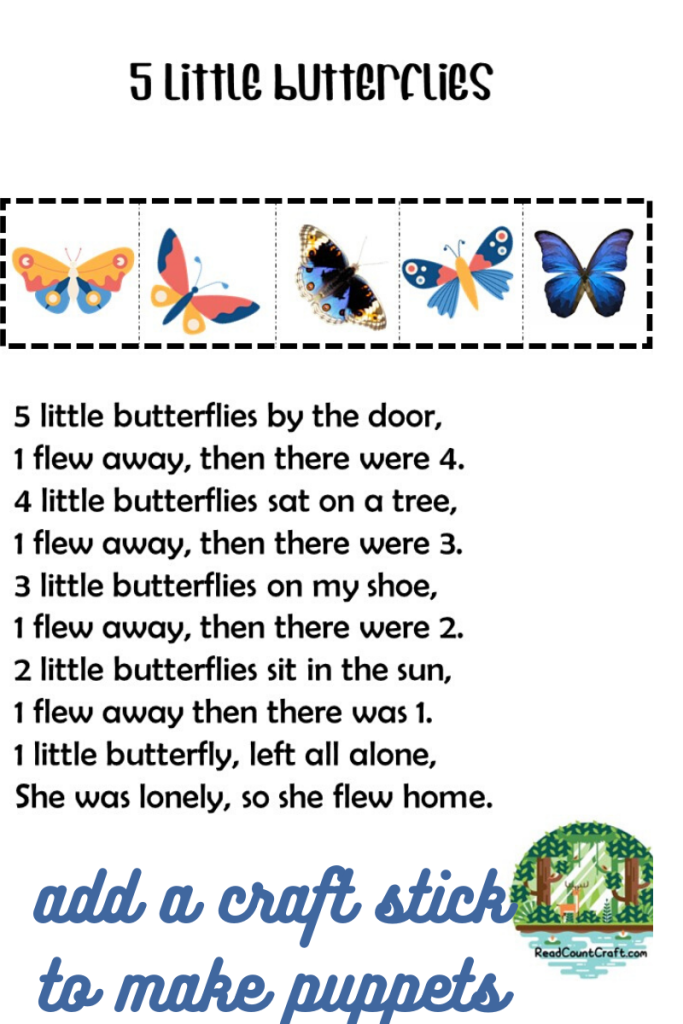 preschool five little butterflies
