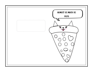 kids card to make pizza cat